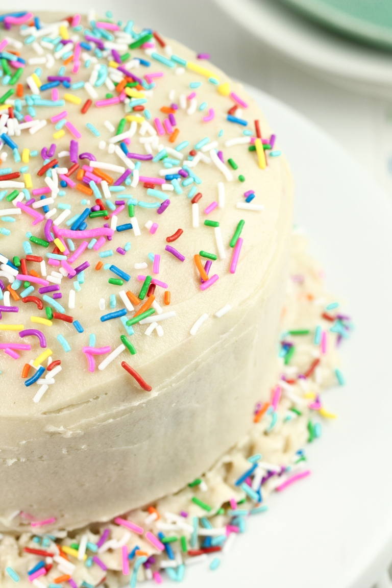 Closeup Side View Of Vegan Funfetti Cake With Lots Sprinkles
