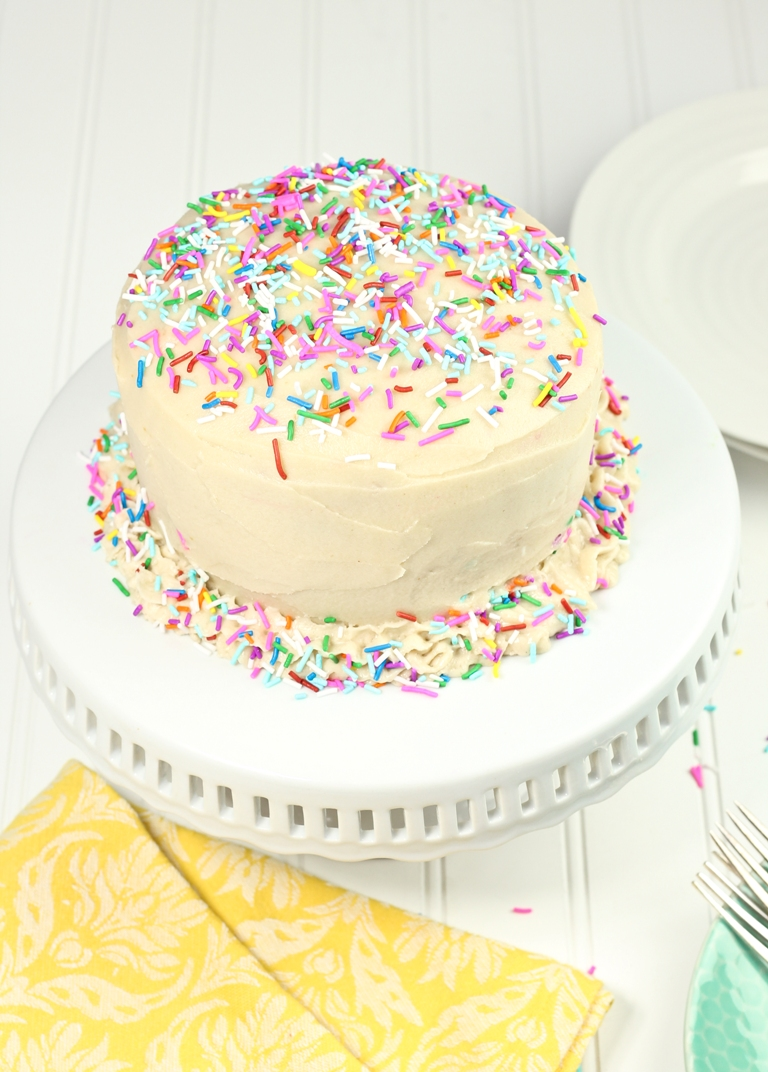 Vegan Funfetti Birthday Cake With Sprinkles And Vanilla Buttercream