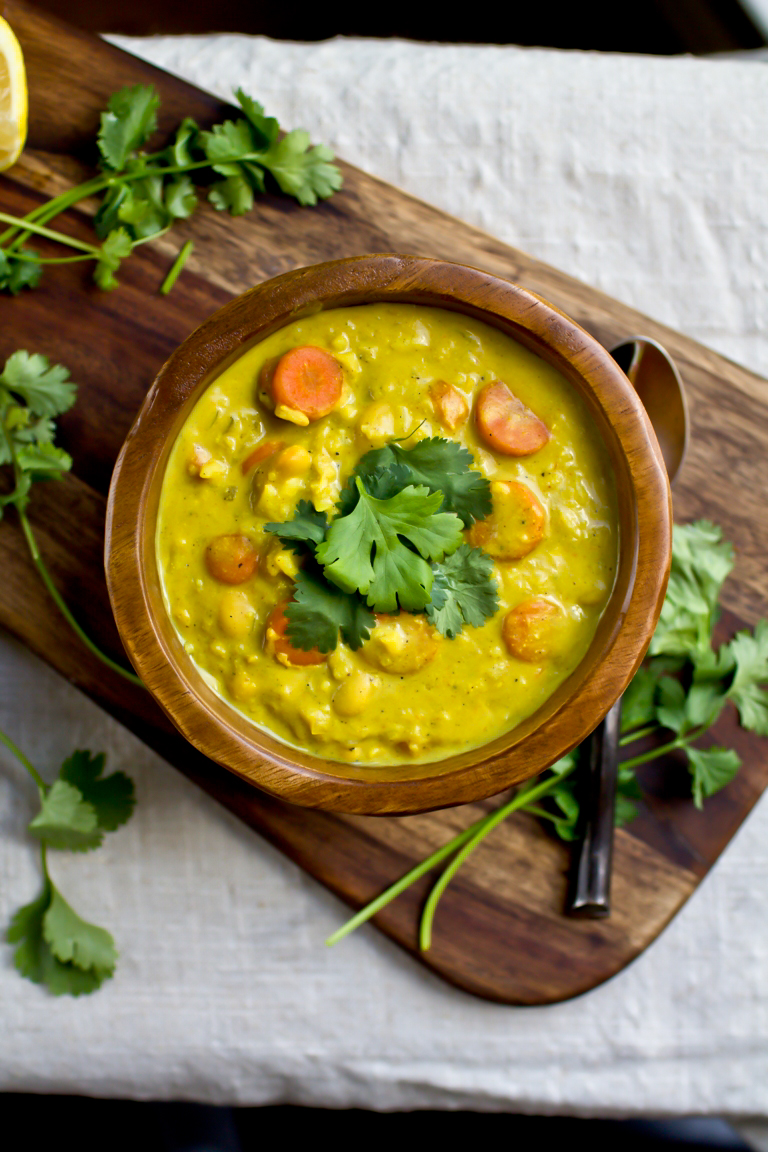 vegan curry rice soup with carrots and cilantro
