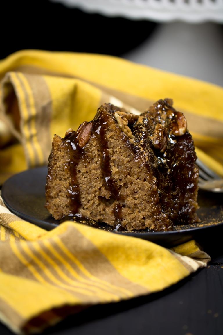 slice of Vegan gluten-free Cinnamon Caramel Bundt Cake