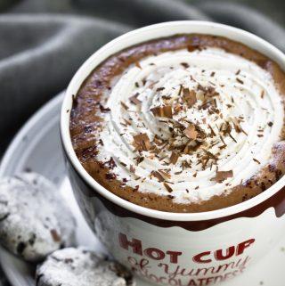 Best vegan hot chocolate in mug with whip cream