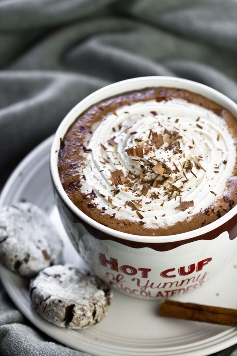 Large mug of vegan hot chocolate with whipped cream