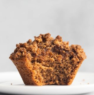 closeup inside shot of vegan cinnamon streusel muffin