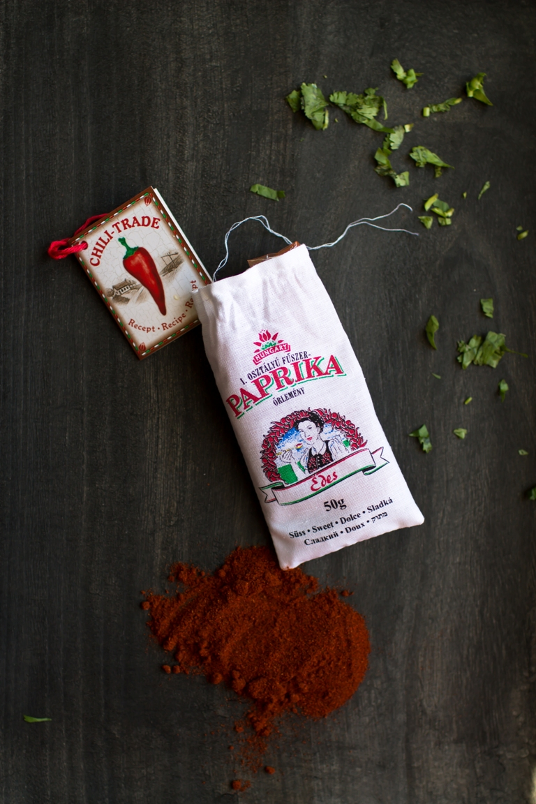 Hungarian paprika in a bag on a black tray