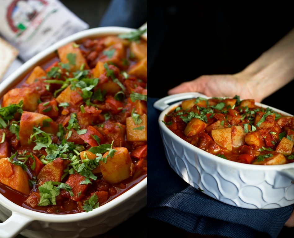 Hands holding vegan hungarian goulash in white dish