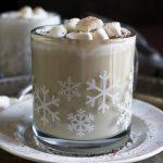 Vegan white hot chocolate in snow flake mug