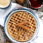 Vegan Gluten-free Chai Waffles on white plate
