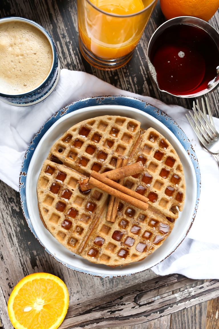 vegan gluten-free chai spiced waffles on white plate
