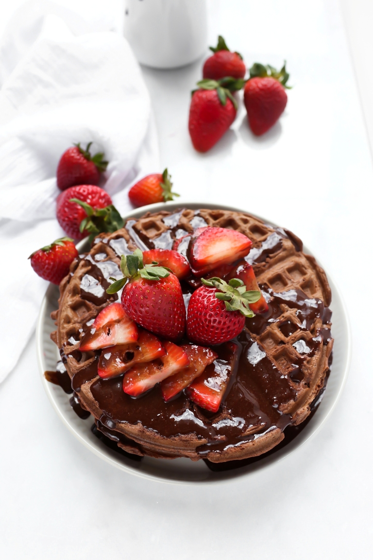 vegan gluten-free chocolate waffles with strawberries