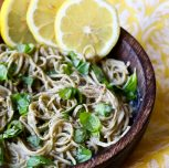 Vegan Lemon Sauce with Basil and Edamame Pasta
