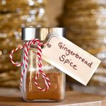 glass jar of gingerbread spice mix with label