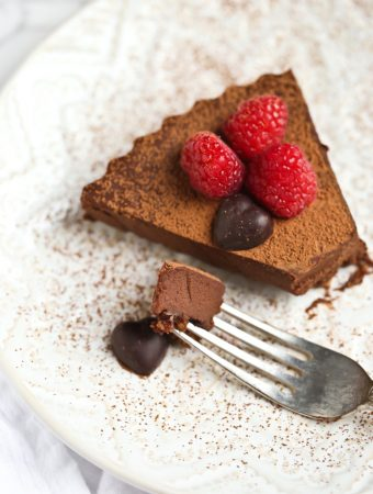 sliced piece of chocolate sweet potato tart