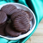 stack of vegan thin mints on white plate