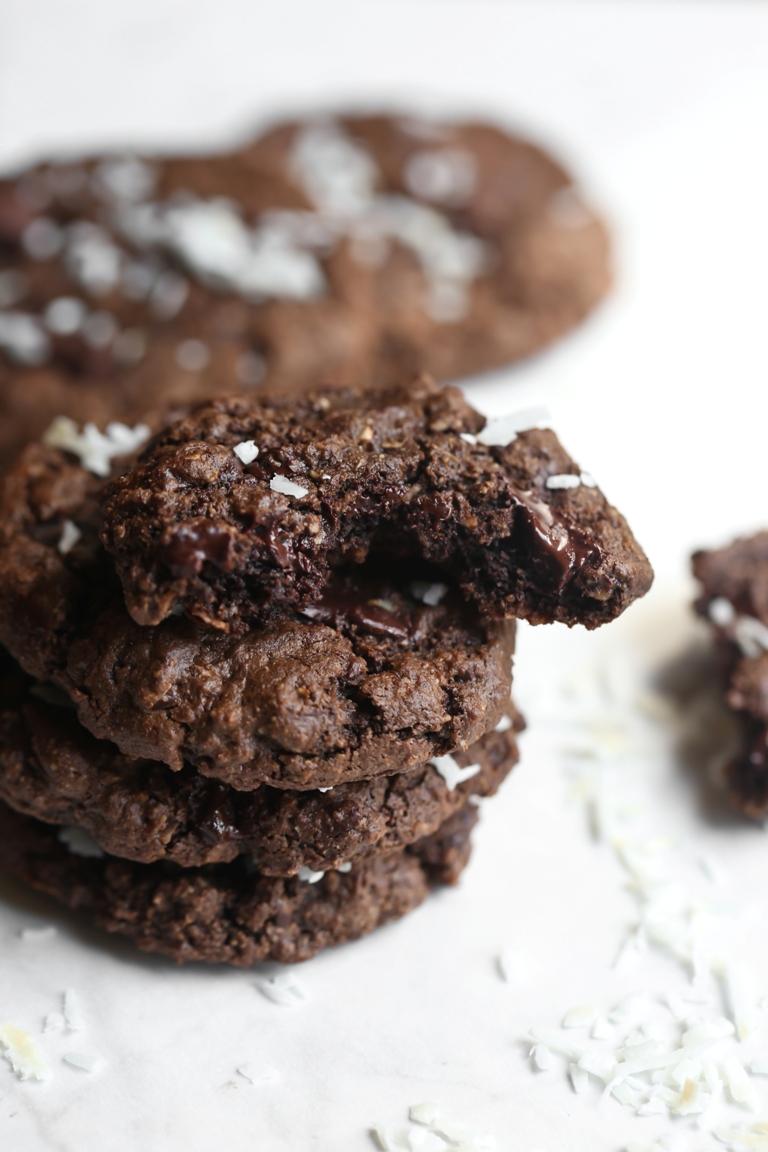 Stack of vegan chocolate coconut cookies