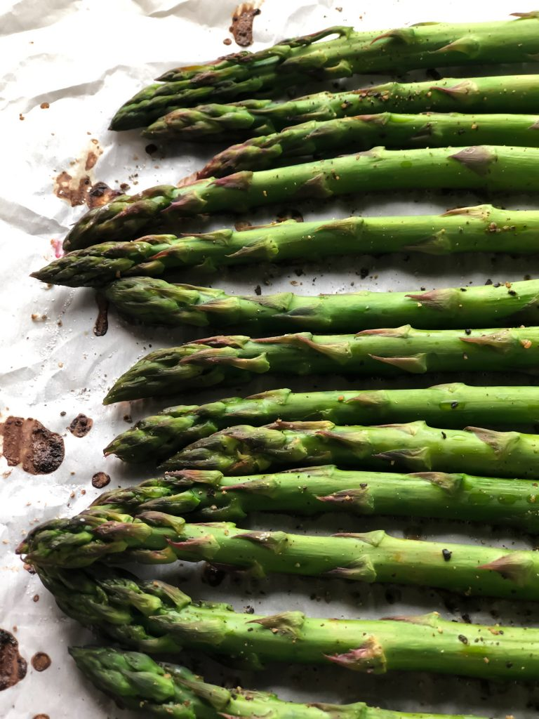 pan of roasted asparagus