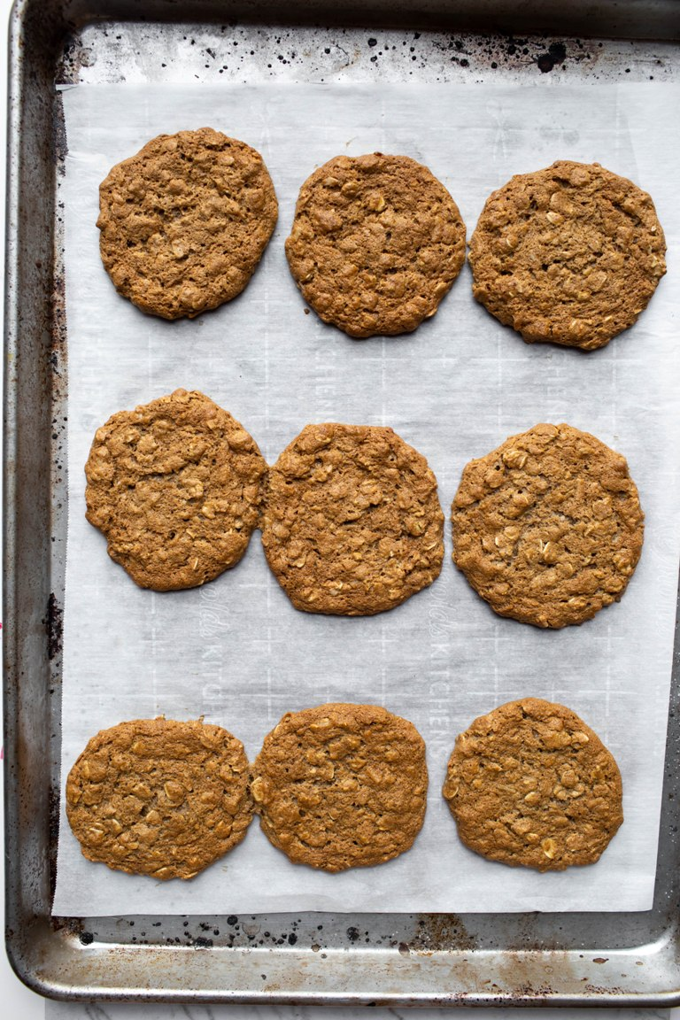 Just baked vegan chai oatmeal cookies on a cookie sheet