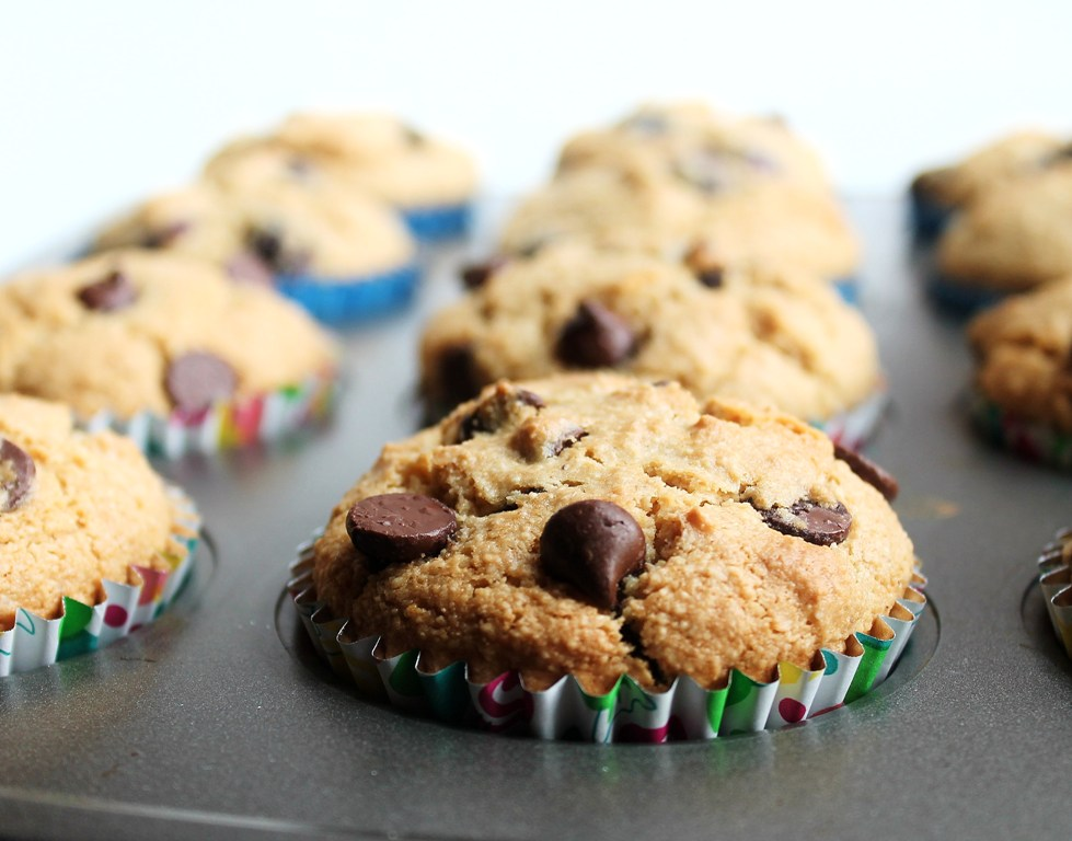 closeup of vegan chocolate chip muffins in pan