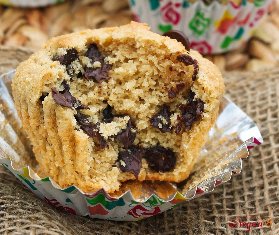 Inside view of vegan chocolate chip muffin