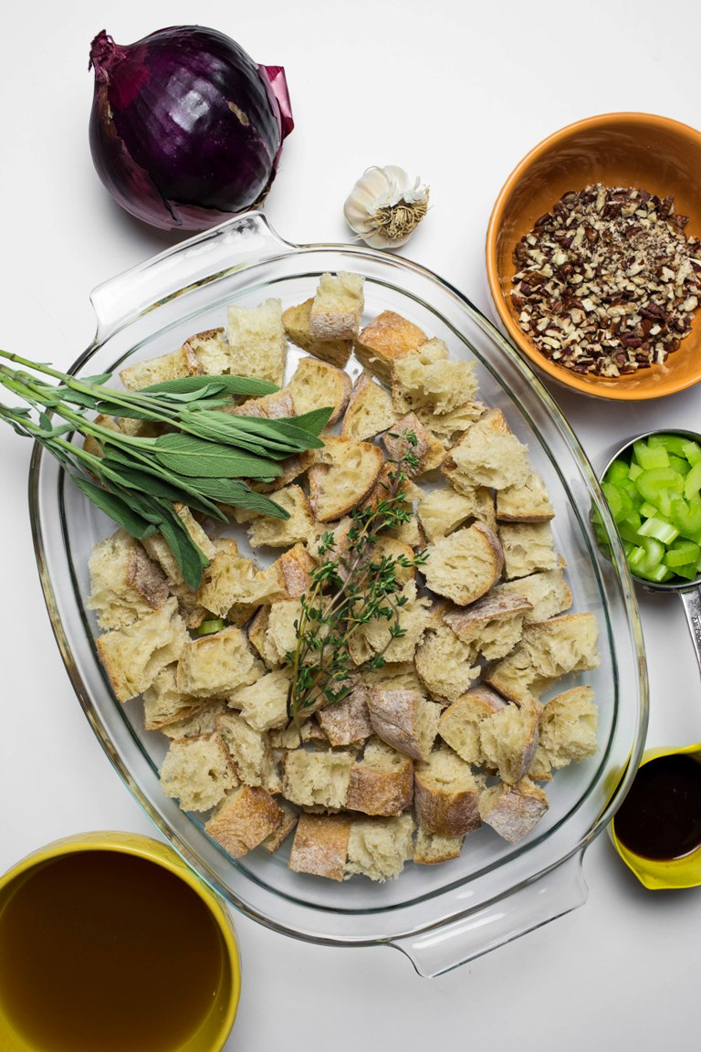 vegan stuffing ingredients scattered on white table
