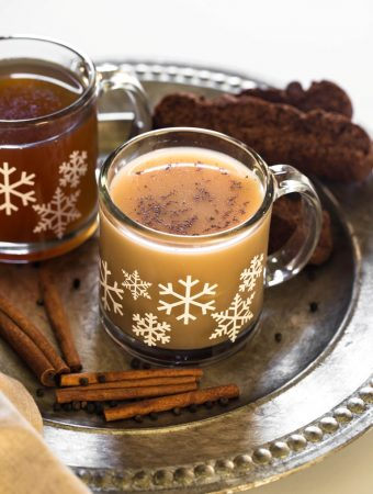 dairy-free masala chai in glass mug