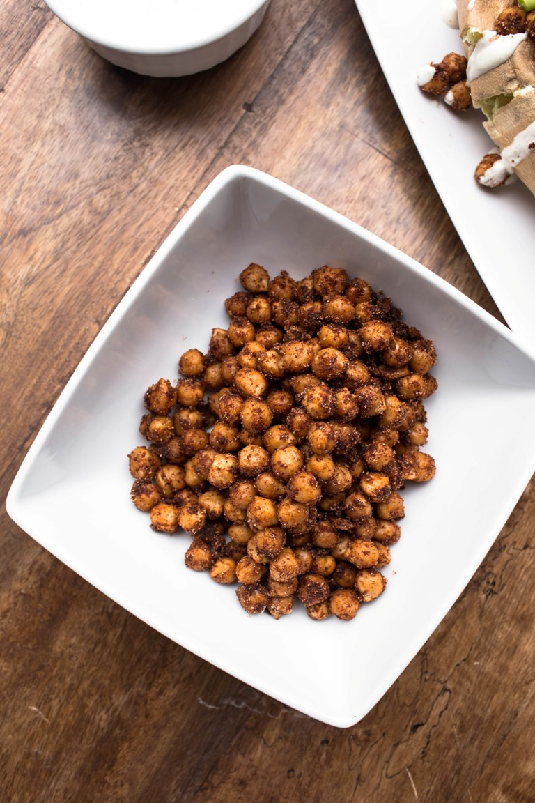 smoky chipotle chickpeas in a white bowl