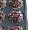 Tray just baked vegan chocolate zucchini muffins