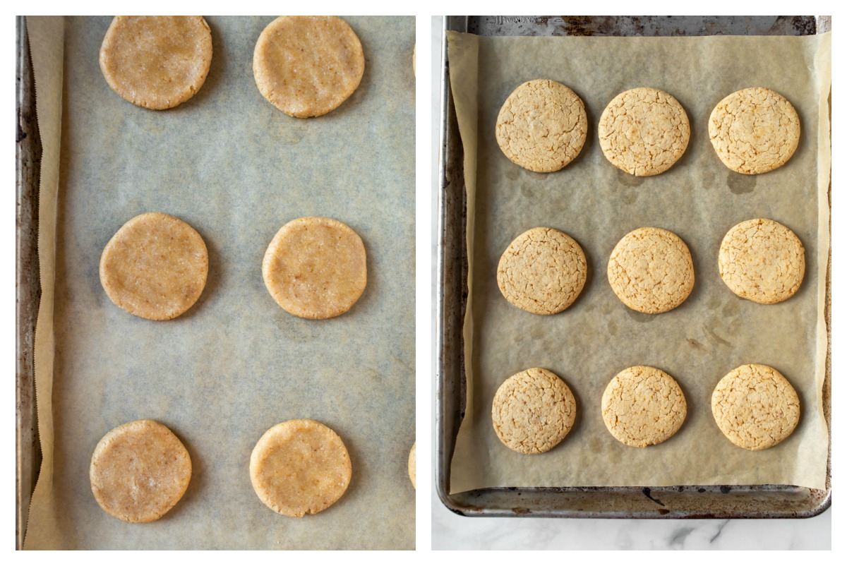 collage of before and after baking cookies on sheet pan
