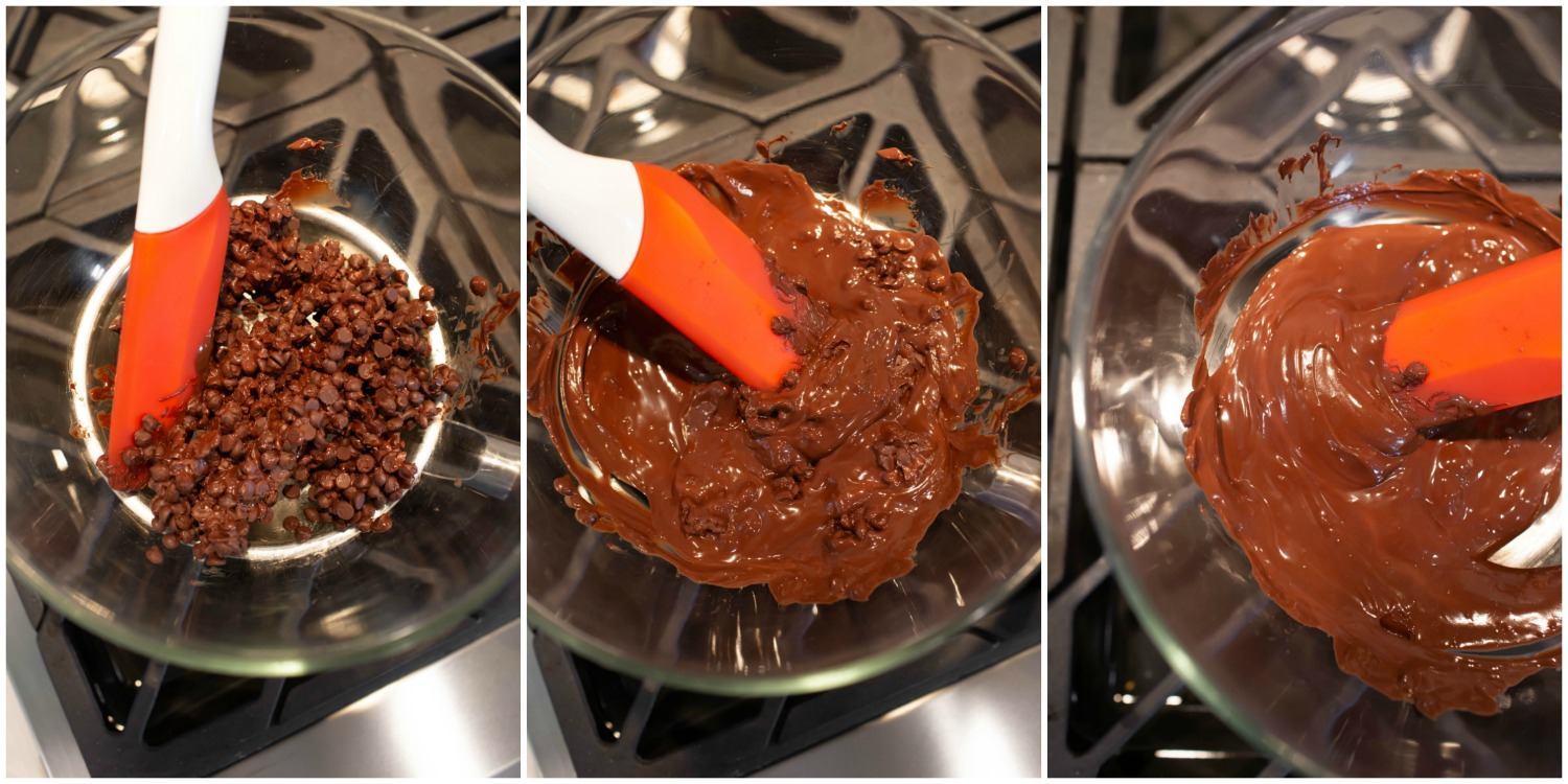 Collage of melting chocolate over double boiler