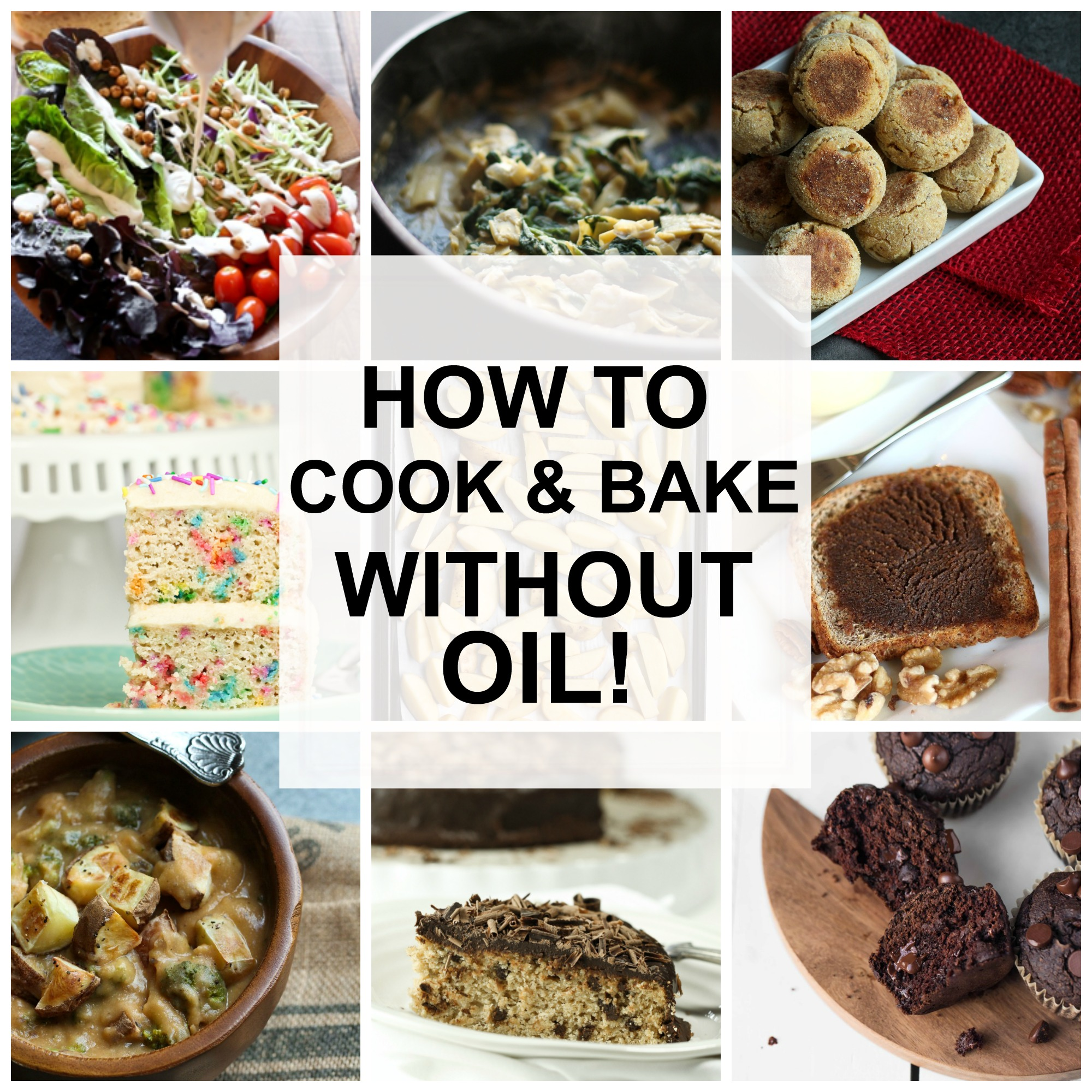 Image collage of vegan oil-free recipes