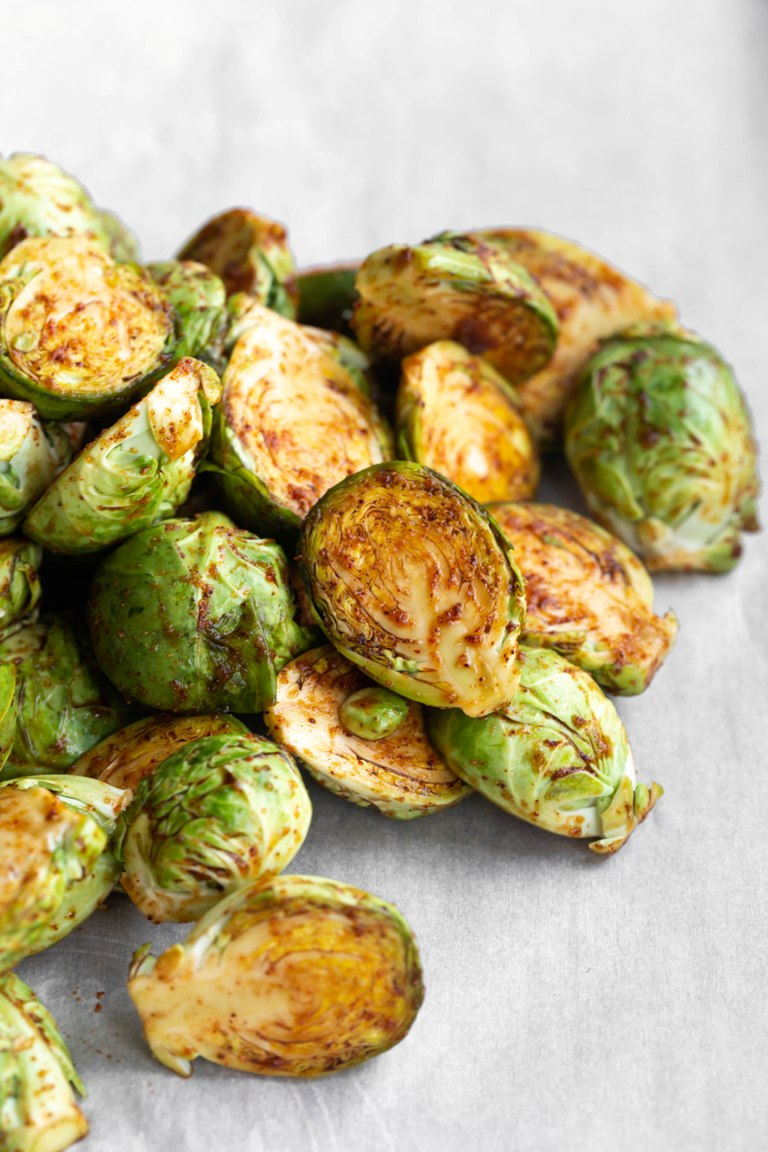 Best Roasted Brussels Sprouts piled on pan