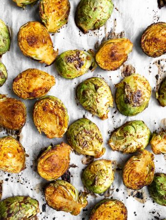 Best Roasted Brussels Sprouts on parchment paper
