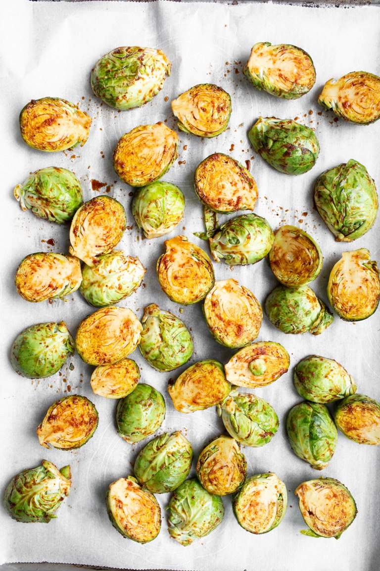 Best Roasted Brussels Sprouts pre-baked on pan