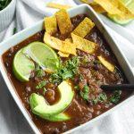 Easy Vegan Black Bean Soup Recipe Oil-free in white bowl
