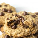 vegan gluten-free oatmeal chocolate chip cookies stacled