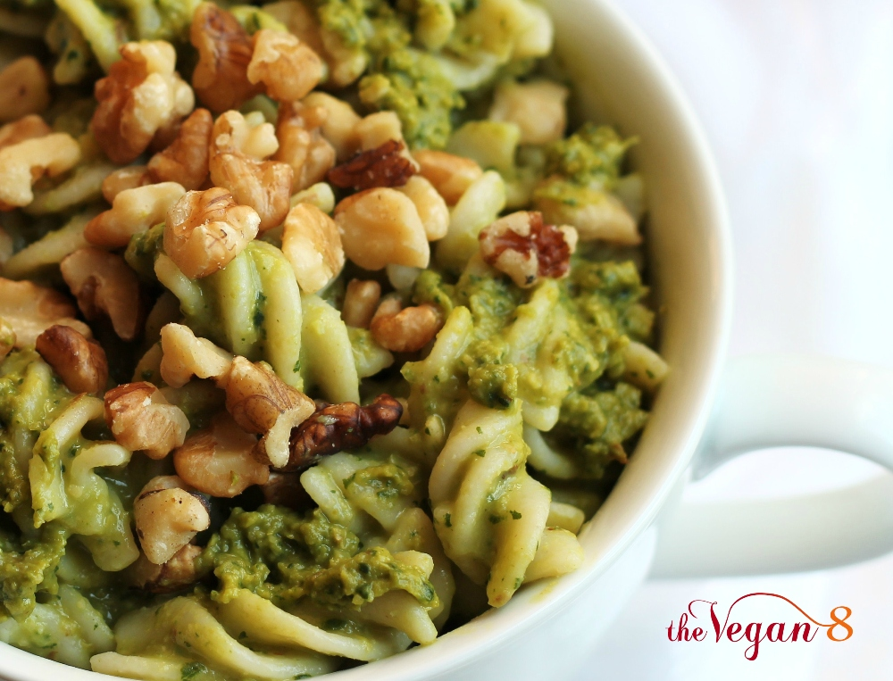 Vegan Kale pesto pasta in white bowl