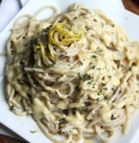 Best Vegan Garlic Alfredo on white plate