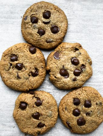 Almond Butter Chocolate Chip Cookies Vegan Gluten-free on cookie sheet