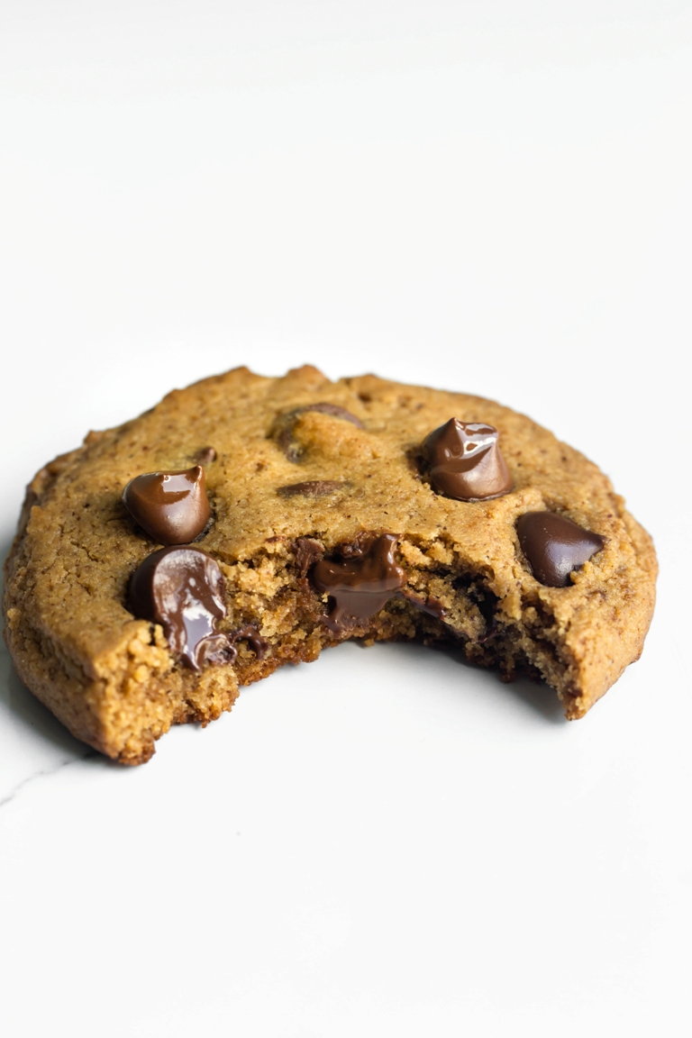 Bite missing from chocolate chip cookie