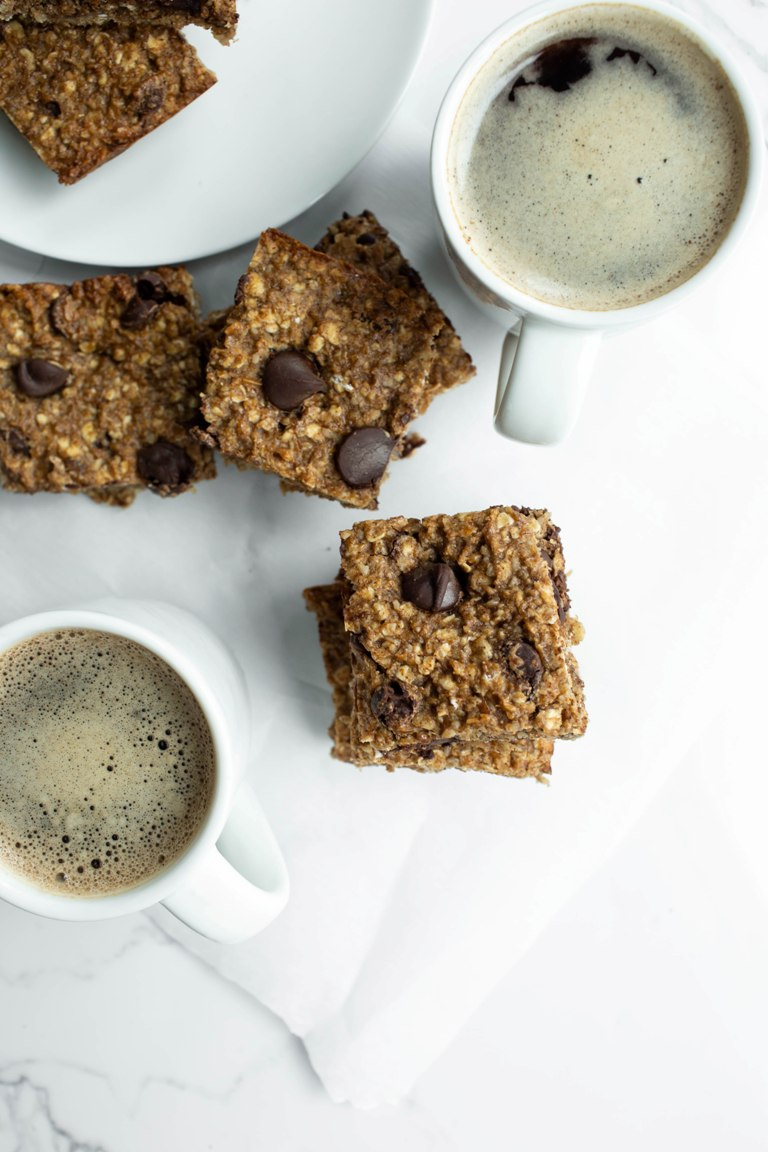 nut-free granola bars with 2 cups of coffee