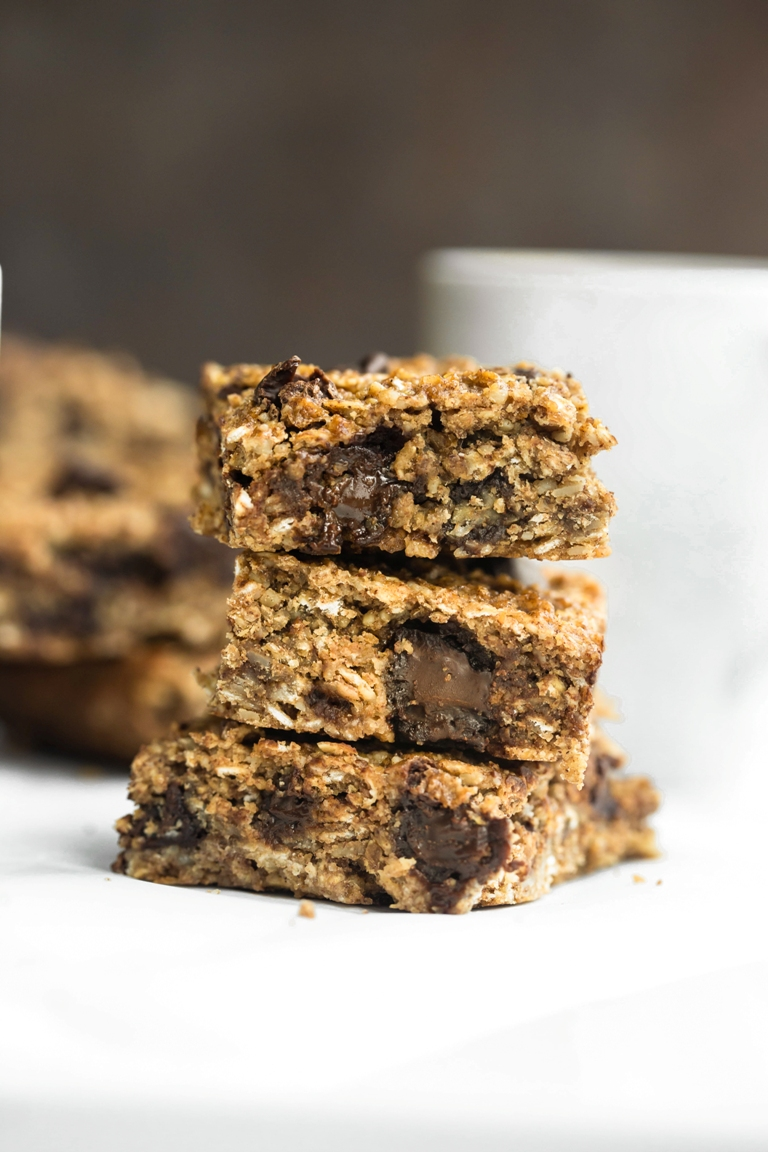 Stack of nut-free granola chocolate chip bars