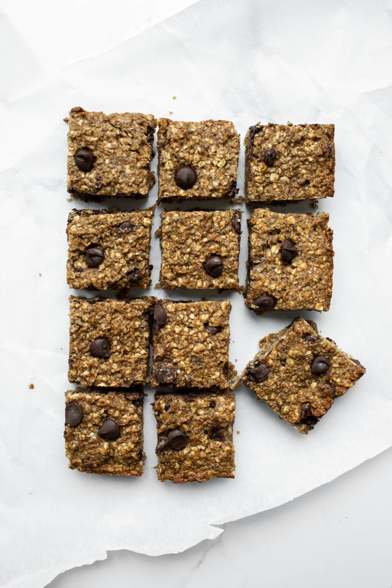 Cut into square nut-free granola bars on paper