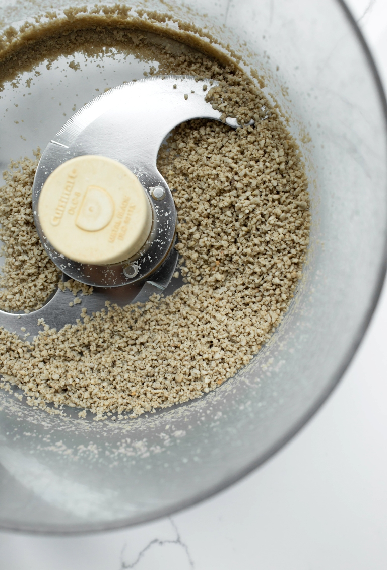 ground up sunflower seeds in food processor