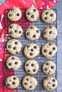 vegan gluten-free chocolate chip cookies on cooling rack