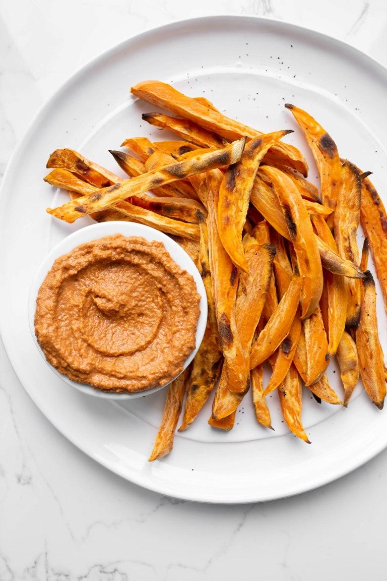 oil-free romesco sauce with sweet potato fries