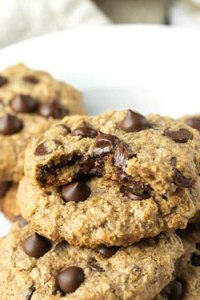 Vegan Gluten-free Oatmeal Chocolate Chip Cookies stacked