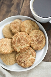 Vegan Gluten-free Snickerdoodles stacked on plate