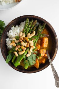 Bowl of vegan thai green sweet potato curry