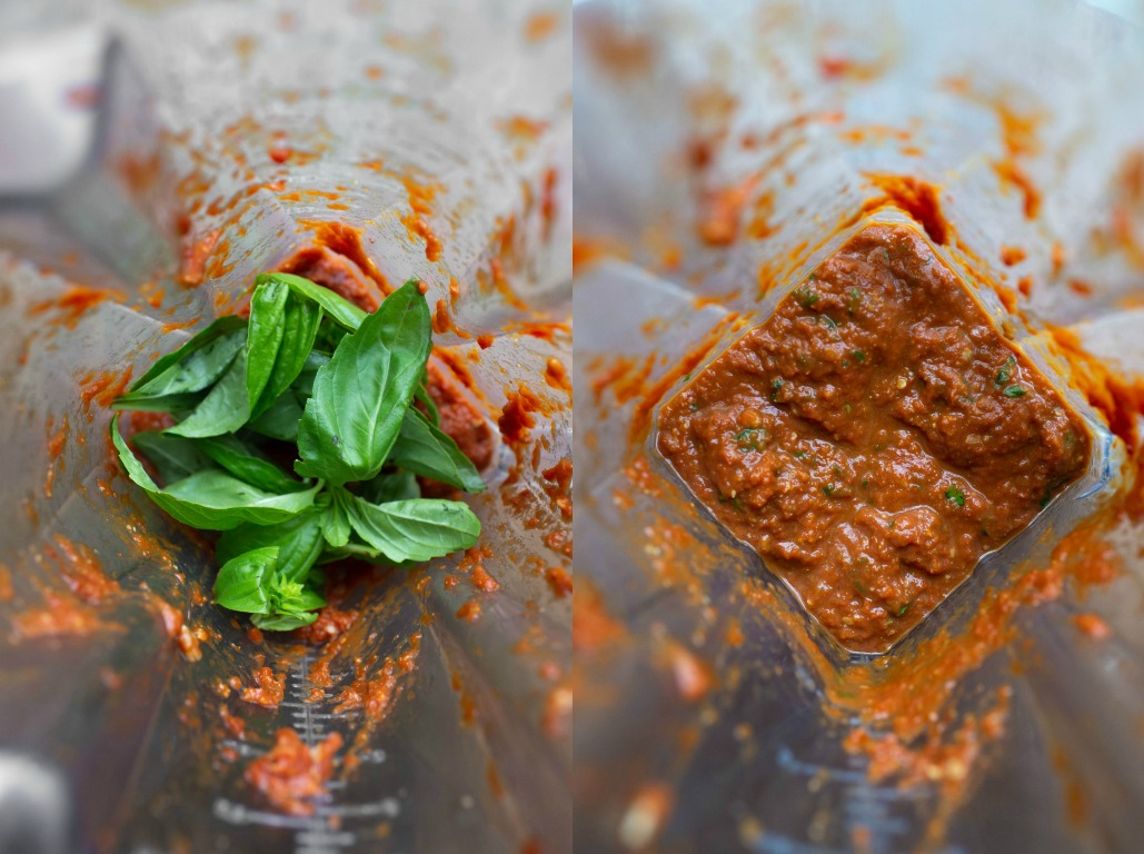 sun-dried tomato pesto in blender with basil
