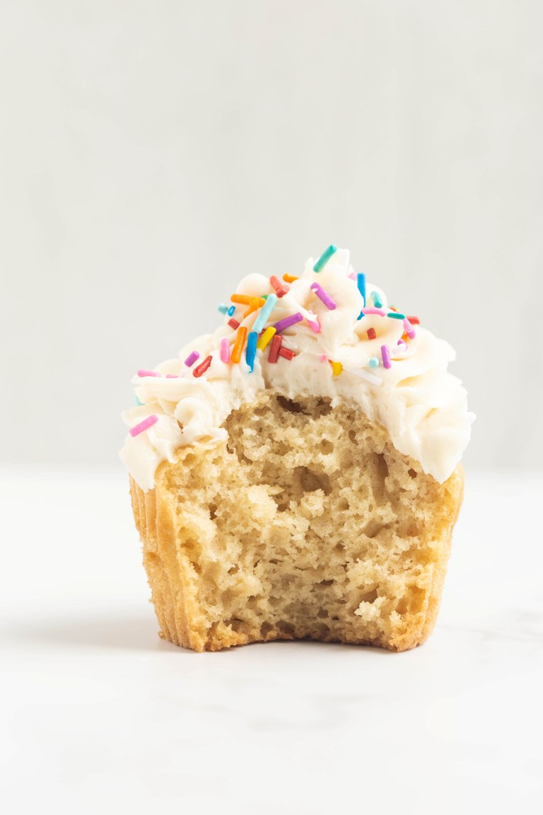 inside fluffy shot of vanilla cupcake