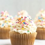closeup front angle of vanilla cupcake